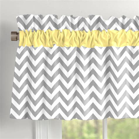 Grey Window Valances by Gray And Yellow Zig Zag Window Valance Rod Pocket