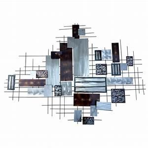 Decoration Murale Metal Design : decoration murale en m tal r ctangles argent et taupe m tallique ~ Teatrodelosmanantiales.com Idées de Décoration