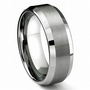 Rasoret tungsten carbide ring in comfort fit and satin finish for Mens wedding rings tungsten
