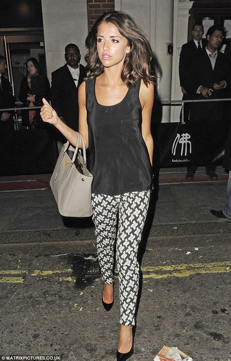 Girlsu0026#39; night out Lucy Mecklenburgh looks chic in monochrome cigarette pants as she parties with ...
