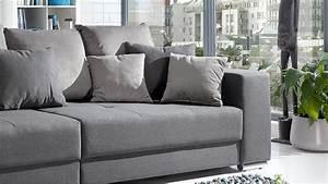 Stoff Für Couch : bigsofa adria sofa in stoff grau couch mit vielen kissen ~ Markanthonyermac.com Haus und Dekorationen