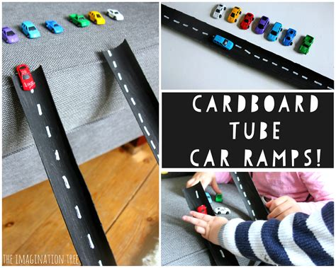 cardboard car ramps the imagination tree 965 | DIY cardboard tube car ramps and roads activity for kids