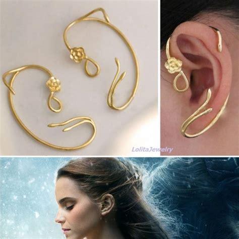 disney beauty   beast belle belles rose earrings
