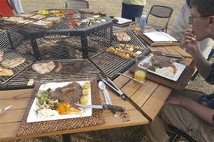 Bench Swing Fire Pit by Giant Grill Table Gives American Bbq The Korean Bbq Treatment