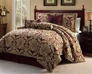 7pc burgundygold oversized floral design comforter set queen king cal king ebay