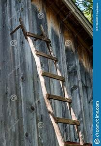 Old, Wooden, Ladder, Against, A, Rustic, Wooden, Barn, Stock, Image