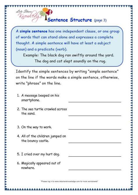 grade  grammar topic  sentence structure worksheets
