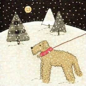 Snowy Walk Airedale Charity Christmas Cards Pack 5 Cards