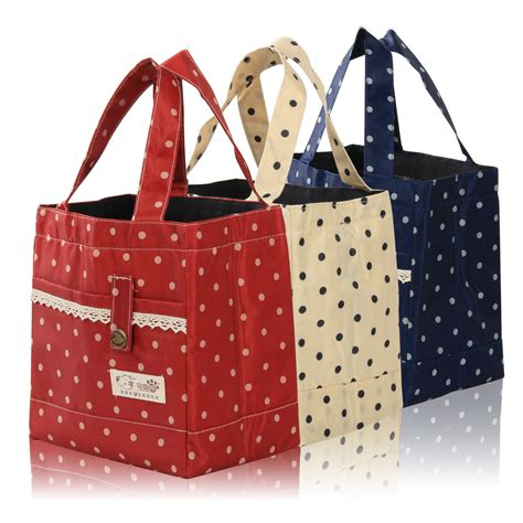 RED - Thermal Insulated Portable Lace Dot Lunch Box Picnic ...