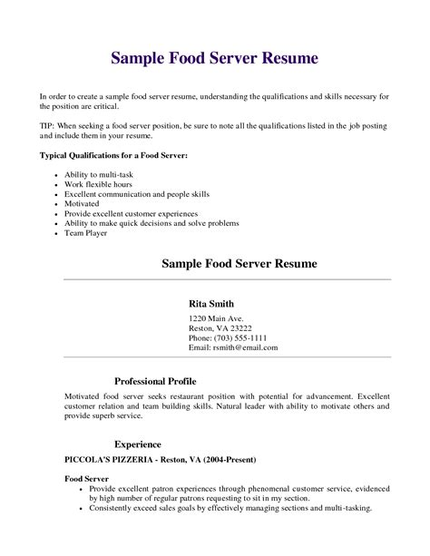 Skills To Put On A Resume For Restaurant by Resume Server Resume Skills Server Resume Sle Food Server Resume Skills Server Resume