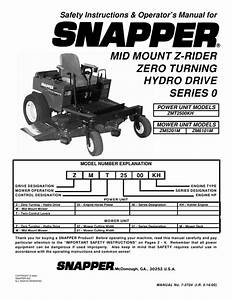 Snapper Lawn Mower Zmt2500kh  Zm5201m  Zm6101m User U0026 39 S