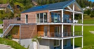 okohaus green holzhaus in hanglage baufritz With garten planen mit fertighaus mit balkon