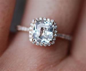 white sapphire engagement ring 14k rose gold diamond ring With white sapphire wedding ring