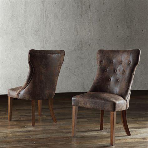 homesullivan brown microsuede tufted side chair