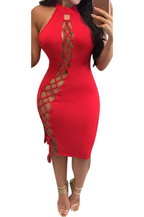maternity blouses womens lace up halter cut out midi clubwear dress