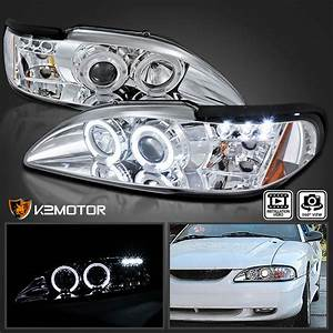 1994-1998 Ford Mustang Halo LED Projector Headlights Chrome Pair 684758597915 | eBay