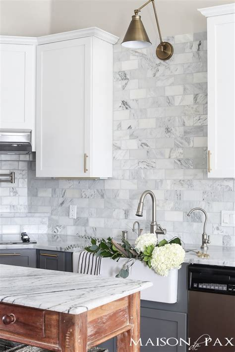 marble tile kitchen marble look subway tile lawhornestorage 4022