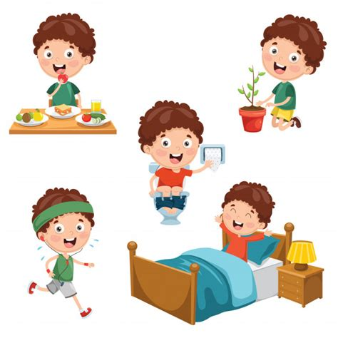illustration  kids daily routine activities premium vector