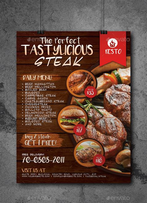 restaurant fast food steak poster  artchery graphicriver