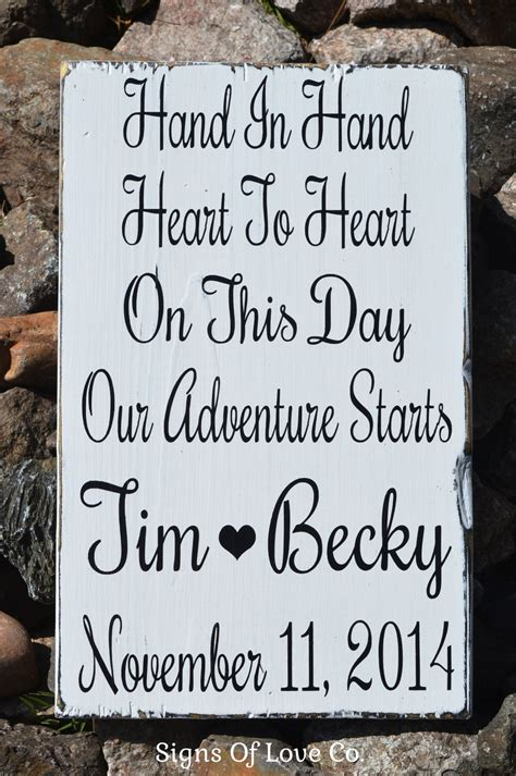 Hand In Hand Heart To Heart Personalized Rustic Wedding