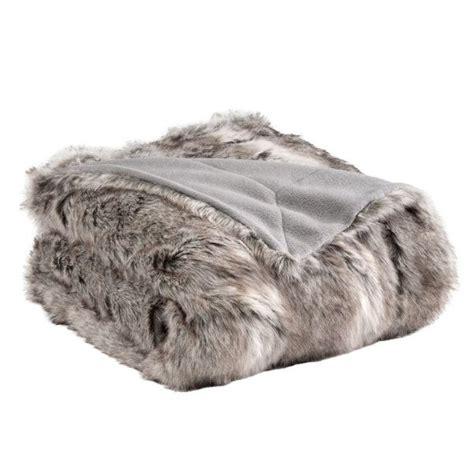 plaids fausse fourrure pour canapé plaid fausse fourrure siberie gris 150 x 180 cm achat