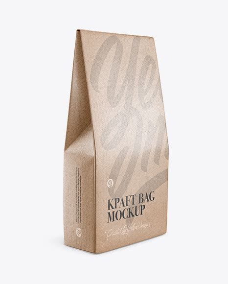 Ready to use in your projects, app and showcases. Kraft Glossy Bag Mockup - Half Side View in Bag & Sack ...