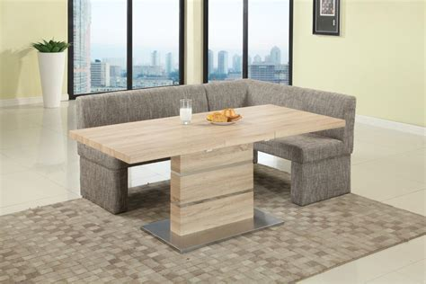 Extendable in Wood Fabric Seats Dinner Table and Nook Mesa