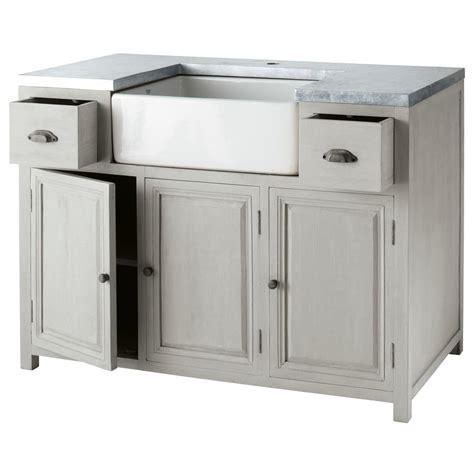meuble avec evier cuisine meuble bas de cuisine avec évier en bois d 39 acacia gris l