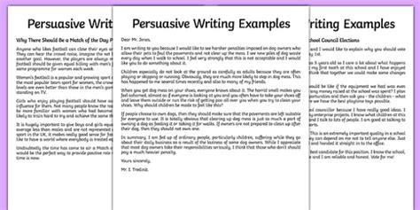 examples  persuasive writing english years