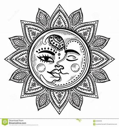 Sun Luna Moon Lune Maan Illustratie Stars
