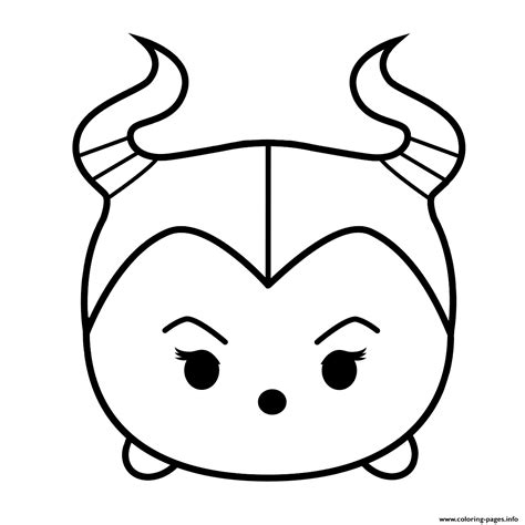 cute maleficent tsum tsum coloring pages printable