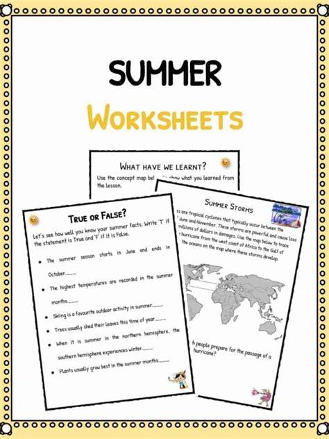 summer worksheets summer facts worksheets for