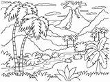 Island Tropical Drawing Coloring Pages Getdrawings sketch template