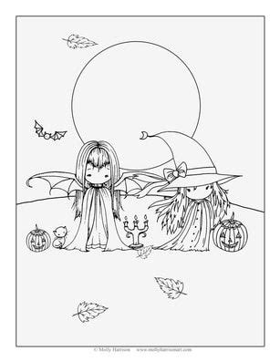 Trick or treat | Fairy coloring pages, Halloween coloring book