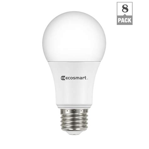 home depot led light bulbs ecosmart 60 watt equivalent soft white a19 non dimmable