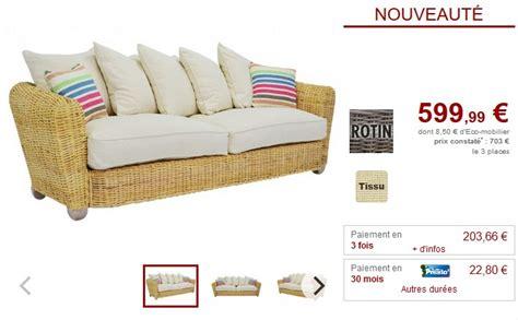 canapé en rotin pas cher vente unique top promo vente unique meubles et deco pas