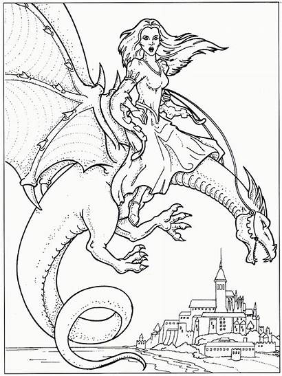 Dragon Coloring Pages Dragons Adults Printable Detailed