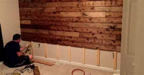 wooden accent wall tutorial man cave pinterest tutorials