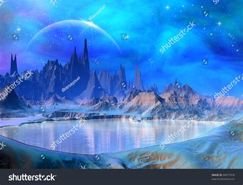 fantasy world  mountains  water perfect