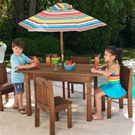 children s patio furniture kidkraft outdoor table and 4 stacking chairs with striped 11113 | master:KD438