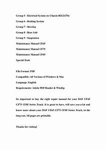 Daf Cf65 Cf75 Cf85 Series Truck Service Repair Workshop Manual