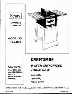 1974 Craftsman 113 24140 9 U0026quot  Motorized Table Saw  Sp3979