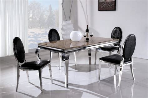 china mordern stainless steel marble dining table and