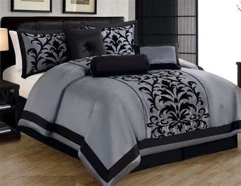 Linen Plus Collection Gray Black Comforter Set All Sizes