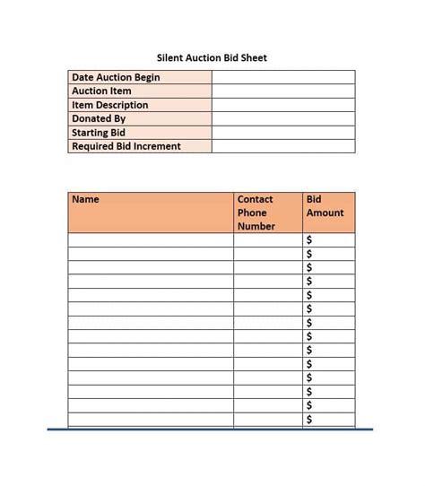 silent auction bid sheet templates word excel