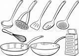 Kitchen Equipment Drawn Utensils Utensil Coloring Ladle Sketch Illustrations Sketches Vektor Tableware Template Colourbox Clip Wok Ske Af sketch template