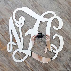 silver acrylic mirror script monogram rosenberryroomscom With large mirrored letters wall