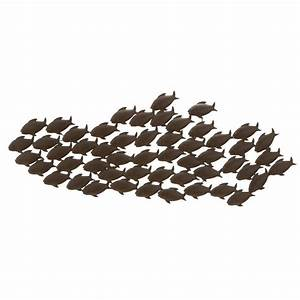 shop woodland imports 53 in w x 20 in h frameless metal With kitchen cabinets lowes with metal school of fish wall art