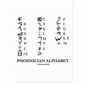 Phoenician Alphabet (Linguistics Cryptography) Postcard ...