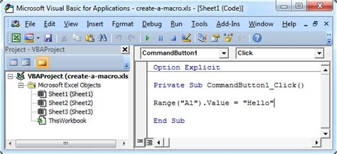 how to create a macro with ms excel